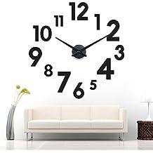 XXL 3d nero gigante Designer Orologio da parete soggiorno decorazione parete Tatoo in acrilico
