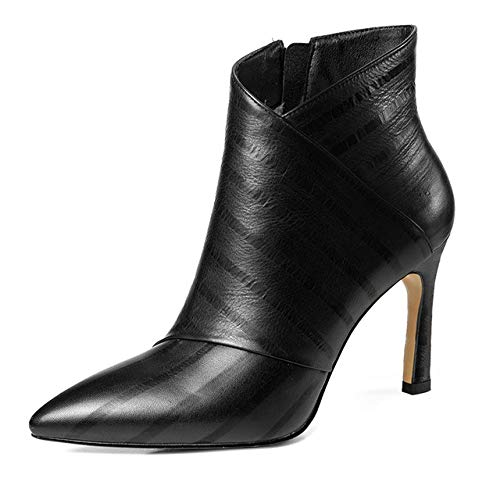 QPDUBB Ankle boots Stripe Cow Leather Women Ankle Boots Pointed Toe Footwear High Heels Office Female Boots Zip Shoes Woman