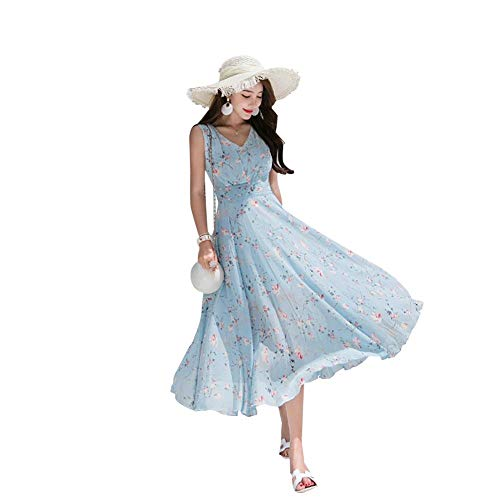 Qiterr Frauen-Sommer-Kleid, Art- und Weisedame Sexy V Neck Sleeveless Chiffon Long Beach Floral Print Dresses(L) - Floral Print Sommer Kleid