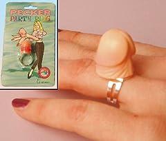 Idea Regalo - Anello con FALLO per SPOSA all'addio al NUBILATO del suo matrimonio - Fede con FALLO - anello diamante - Idea gaget scherzo anello con Pene cazzetti