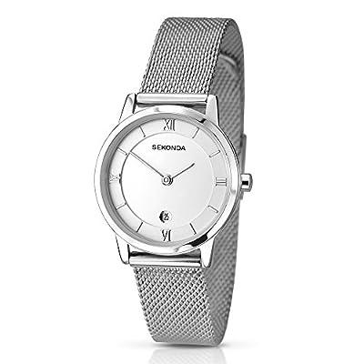 Sekonda - Reloj de cuarzo para mujer con pantalla analógica y pulsera de acero inoxidable de SEKONDA