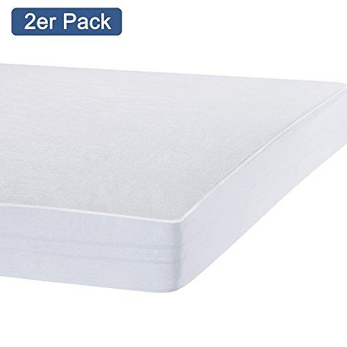 Preisvergleich Produktbild 2 X Bedecor® Matratzenschoner Wasserdicht Wasserundurchlässige Matratzenauflage Molton 90x200 cm Original OEKO-TEX®