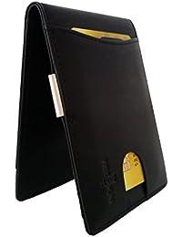 FreeHaveFun RFID Leder Kreditkartenetui mit Geldklammer | NFC Geldclip Kreditkartenhalter | Kartenbörse m. Geldscheinklammer | Mini Geldbeutel | schmales Portemonnaie | kleine Geldtasche | Ausweisetui