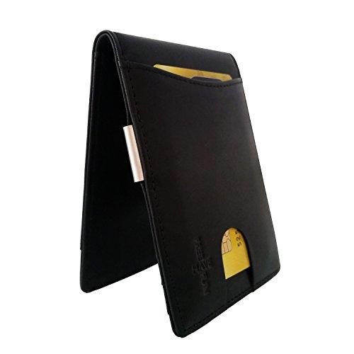 FreeHaveFun RFID Leder Kreditkartenetui mit Geldklammer | NFC Geldclip Kreditkartenhalter | Kartenbörse m. Geldscheinklammer | Mini Geldbeutel | schmales Portemonnaie | kleine Geldtasche | Ausweisetui (Bunte Euro-schein)
