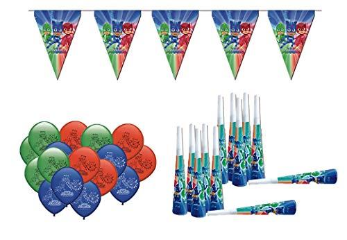 ALMACENESADAN 0471, Packung Dekoration Party und Geburtstag PJ Masken, 16 Ballons, 12 Trompeten, 1 Wimpel Lady Bug 3 Laufmeter