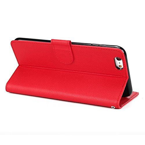 EKINHUI Case Cover Classic Premiu PU Ledertasche, Horizontale Flip Stand Case Cover mit Cash & Card Slots & Lanyard & Soft TPU Interio Rückseite für iPhone 6 Plus & 6s Plus ( Color : Gold ) Red