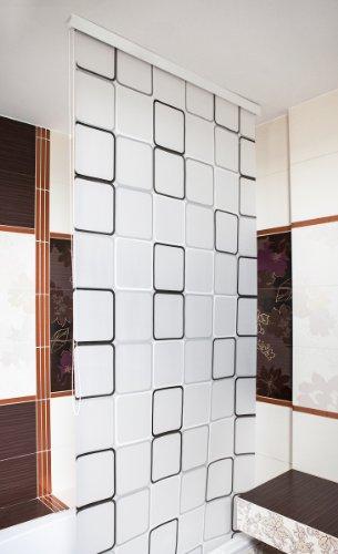 Duschrollo Halbkassette 140×240 cm Quadro Grau/Weiß/Schwarz thumbnail