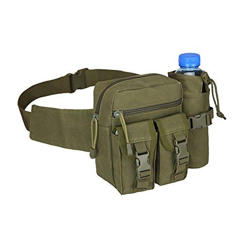 Taktische Wasserflasche Taillenpaket, wasserdicht Militär Taille Gürtel Utility Wasser Flasche Beutel Tasche Bumbag für Trekking Wandern Wandern Fahrrad Radfahren Klettern ArmyGreen