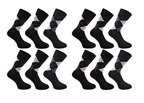 Mens Socks ( 12 pairs ) Cotton Rich , Comfortable , Breathable , Designer Mens Socks (Argyle)