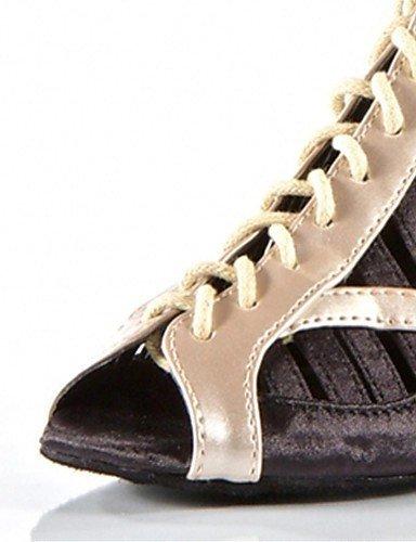 ShangYi Chaussures de danse (Noir/Rouge) - Non personnalisable - Talon aiguille - Satin/Similicuir - Moderne Black
