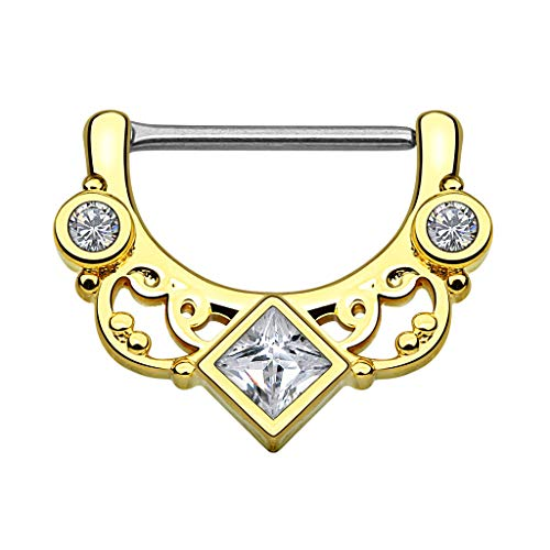 Piercingfaktor Brustpiercing Brustwarzen Intimpiercing Nippelpiercing Barbell Intim Nippel Brust Piercing Clicker Ring Tribal Kristall Quadrat Gold