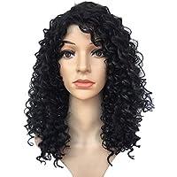 Encaje pelucas delanteras Ombre negro 18 largo pequeño rizado ondulado pelucas sintéticas para las