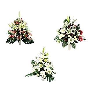 LBA Centro de Flores Artificiales para Cementerio, Preparado para Introducir en los Botes de Tumbas o Nichos. Varios Modelos. (Blanco)