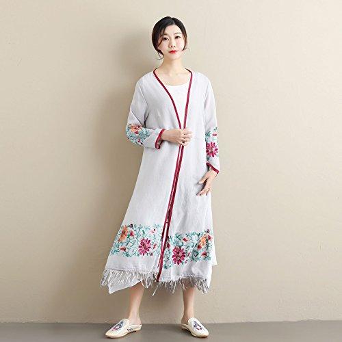 YAN Frauen Mantel Kleidung Sommer neu bestickt ethnischen Quaste Kleid Cardigan Kleider täglich tragen Sommerkleid Party, Hochzeit, täglich tragen (Farbe : Weiß) -