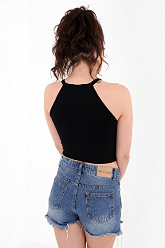 Damen Ring Detail Eagle Print Crop Top EUR Größe 36-42 Schwarz