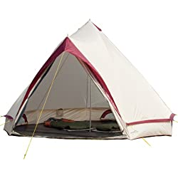 Skandika Comanche - Tente Tipi Indien - 8 Personnes - Env. 4 m de Diamètre Sable/Rouge