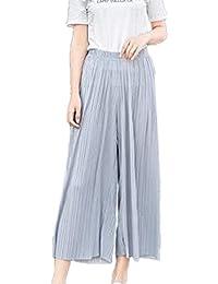 Damen Hosen Elegant Sommerhose Palazzo Hosen Skort Bottom Elastische Taille  Unifarben Plissee Fashion Mädchen Apparel Strandhose f0bacf28f1