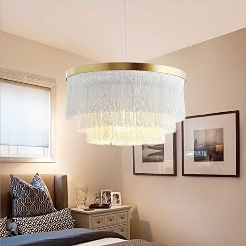 Weiß Quaste Kronleuchter, Deckenleuchte Nordic Kronleuchter, Wohnzimmer Schlafzimmer Mädchen Prinzessin Zimmer 42 * 42 * 23cm Stoff Warme Dekoration Persönlichkeit Luxus Einfach zu installieren