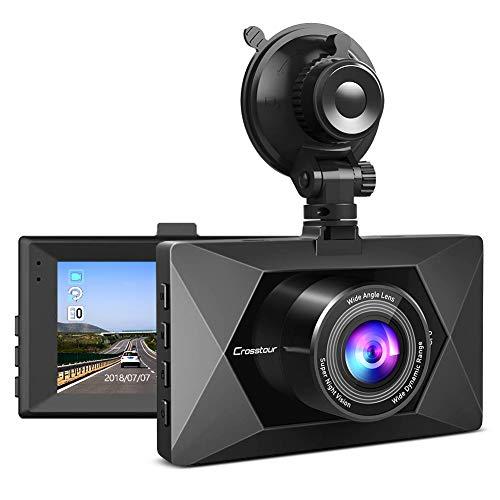 Crosstour Mini AutoKamera 1080P Full HD Dashcam 3 Zoll Bildschirm mit 170 ° Weitwinkel, HDR, G-Sensor, Loop-Aufnahme, Parkwächter-Funktion