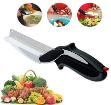 Ketsaal Clever Cutter 2 in 1 Food Chopper/Tool Slicer Dicer/Vegetable & Fruit Cutter/Kitchen Scissors/Knife/Chopping/Cutting Board