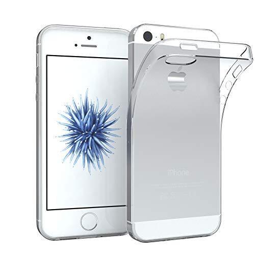 EAZY CASE Hülle für Apple iPhone 5 / 5S / SE Schutzhülle Silikon, Ultra dünn Slimcover, Handyhülle, Silikonhülle, Backcover, Transparent/Durchsichtig, Transparent