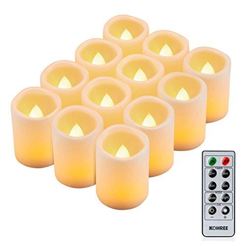 Kohree Romantische Kerzen mit Fernbedienung, LED Kerze mit Timer, 12 LED Flammenlose Kerzen Batteriebetrieben