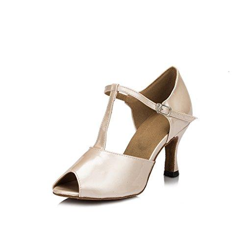 Da donna Minitoo Peep Toe per feste in pelle PU sera matrimonio sandali Latin Dance scarpe Beige (beige)