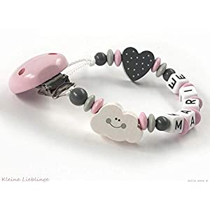 Schnullerkette mit Namen Mädchen Wolke Herz - rosa grau weiß Baby Geschenk Holz - Silikonring