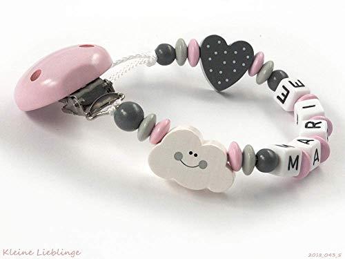 Schnullerkette mit Namen Mädchen Wolke Herz - rosa grau weiß Baby Geschenk Holz - Silikonring -