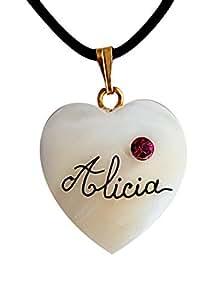 Collier cœur nacre personnalisé avec prénom et cristal rose fuschia.