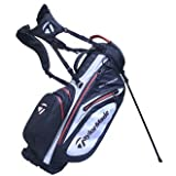 TaylorMade 2017 Waterproof Stand Bag Mens Golf Carry Bag 6-Way Divider Black/White/Red