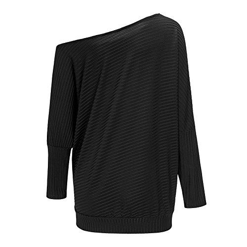 Smile YKK Femme Asymétrique Épaule Lâche T-Shirt à Manche Longue Pull Noir