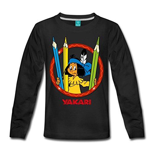 Spreadshirt Yakari Buntstifte Kinder Premium Langarmshirt, 134/140 (8 Jahre), Schwarz