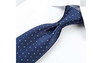 Coffret Cadeau Capri - Cravate bleu marine, petits carrés bleu ciel et bleu roi avec fil argenté au centre, boutons de manchette, pince à cravate, pochette de costume