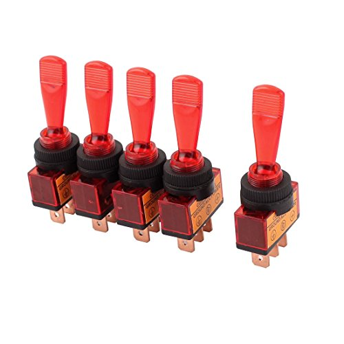 ZCHXD a15050900ux0351 DC 12V 20 Amp 12 mm Thread Panel Mount SPDT 2-Position Toggle Switch Red, 1.02