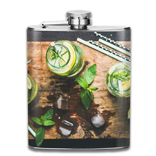 Edelstahlflaschen 7 Unzen Abnehmen-gesund-infundiert-Zitrus-Eis-Sassi-Wasser-Whiskyflaschen-Hüftflaschen Leak Proof Wine Men Women - Alkohol Infundiert