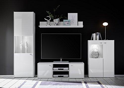 Wohnwand 4-teilig weiß Hochglanz modern mit LED-Beleuchtung
