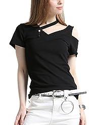 Keno camiseta mujer de verano - 95% algodón - cuello V y unilateral sin tirante - T shirt de moda - M
