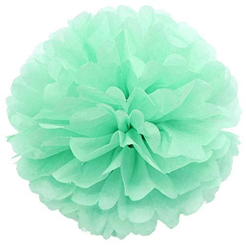 JZK® 10 x Pom Pom Pompom Pompon, 25 cm Durchmesser, Papier hängende Dekoration Zubehör für Hochzeit Geburtstag Graduierung Taufe Party Halloween, Celadon grün