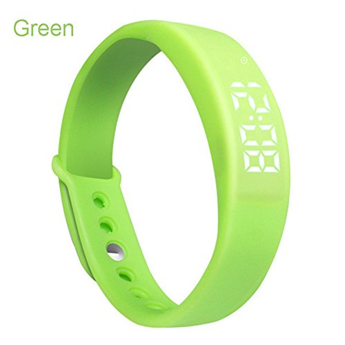 W5 Smart Armband Uhr, 3D-Schrittzähler USB Silikon intelligent Wireless Handgelenk Armband Jelly Farbe Fitness Tracker Sport Digital LED Display Kalorienzähler/Zeit & Temperatur, grün (Wireless-tracker-armband)