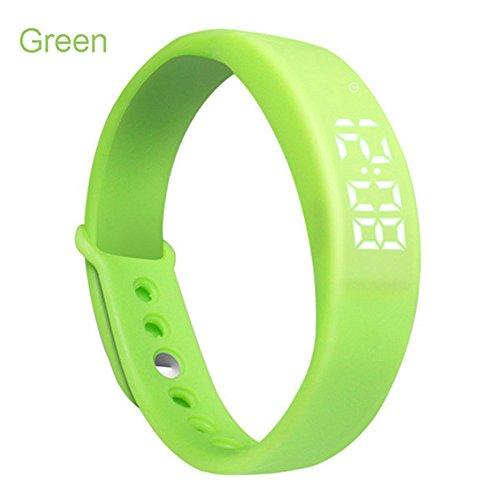 W5Smart Armband Uhr, 3D-Schrittzähler USB Silikon intelligent Wireless Handgelenk Armband Jelly Farbe Fitness Tracker Sport Digital LED Display Kalorienzähler/Zeit & Temperatur, grün (Wireless-tracker-armband)