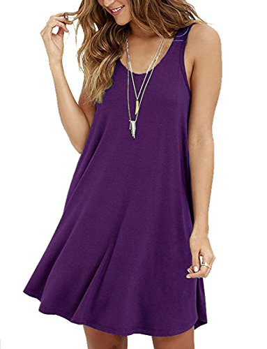 LILBETTER Frauen Ärmelloses Casual Loose Fit T-Shirt Tunika Kleid Swing Kleid Lila L(EU 42-44) (Shirt Fit Loose Purple)