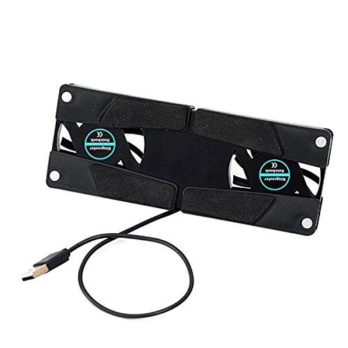 Preisvergleich Produktbild joyliveCY Drehbare USB Lüfter Laptop Notebook PC 2 Lüfter Kühlung Pad Computer Peripheriegeräte Schwarz