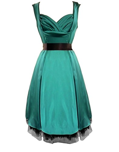Damen Kleid 50s Satin Abend Cocktail Partykleid Jade Grün Grün