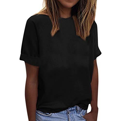 CAOQAO Sweatshirt Elegant V-Ausschnitt Langarm Casual Women Casual Loose Cotton Solid O-Neck T-Shirts Fashion Short Sleeve Blouse