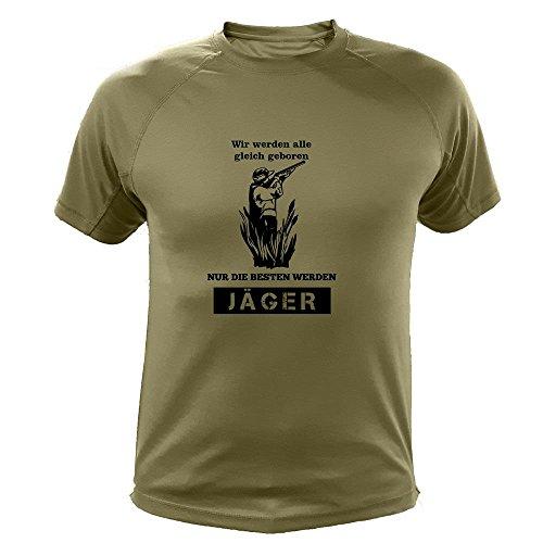 Jagd T shirt Jäger, Wir werden alle gleich geboren nur die besten werden Jäger, Lustiges Geschenk für Jäger (20138, Grun, L)