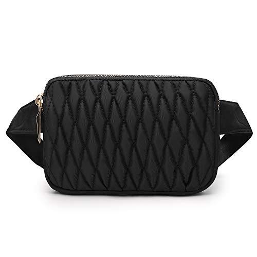 Wind Took Mode Damen Gürteltasche Bauchtasche Hüfttasche Schultertasche für Reise Alltag Outdoor Mini,18 x 4 x 12 cm, Schwarz