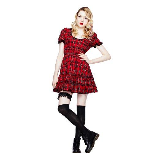 Vestido clásico con cuadros rojos