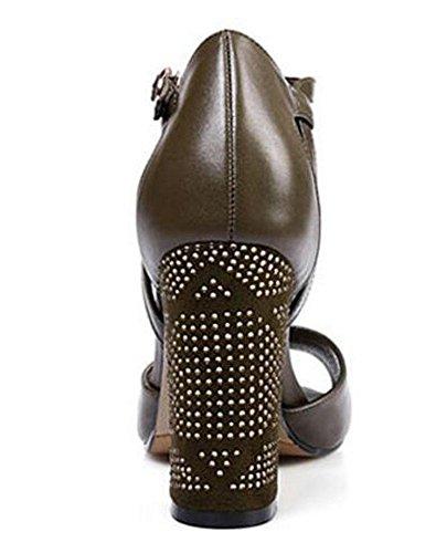 SHINIK Frauen Peep Toe Knöchelriemen Pumps Sommer Neue Leder Schuhe High Heel Sandalen Schwarz Dark Green