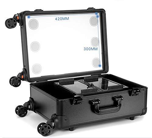 YLTTZ Professionelle Makeup Koffer mit eingebauten Lichtern und 3 Hellen Farben und Richtung Räder beleuchtet Roll Travel Cosmetic Organizer,Black (Cosmetic Roll)